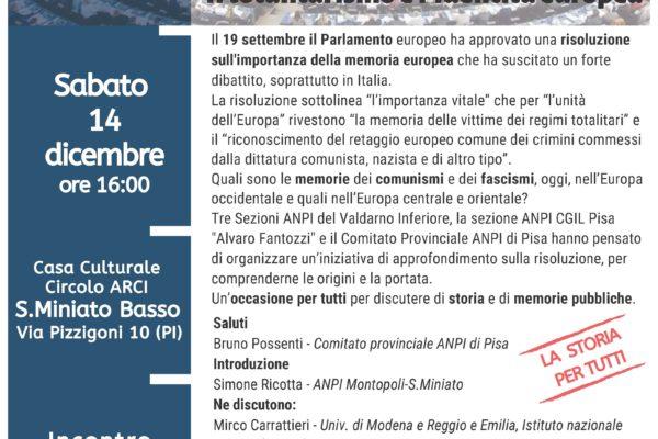Comunismi e fascismi fra storia e memoria - 14 dicembre ore 16 Circolo ARCI San Miniato Basso