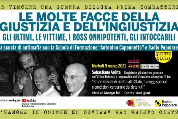 5a Lezione Antimafia: martedì 9 marzo h. 18.00 con Sebastiano Ardita